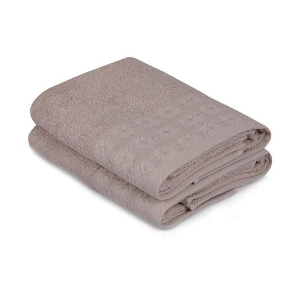 Sada dvou hnědých ručníků Provence, 90x50cm
