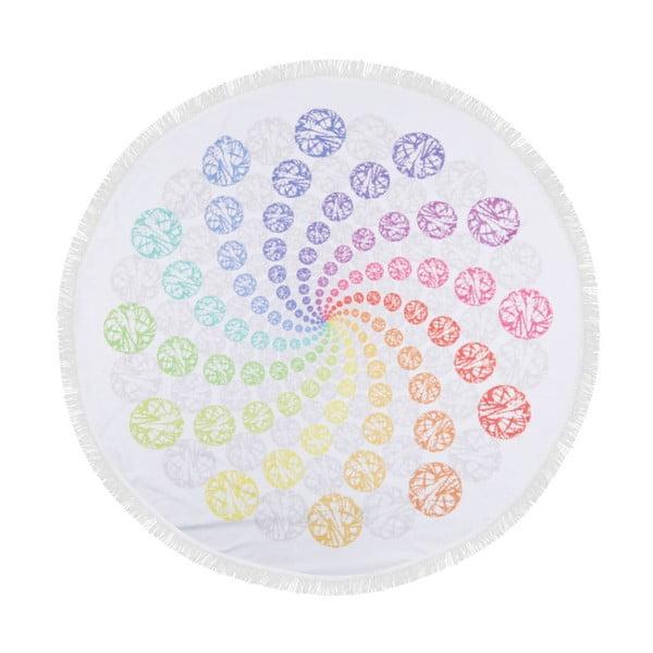 Barevná plážová osuška ze 100% bavlny Twirl, ⌀ 150 cm