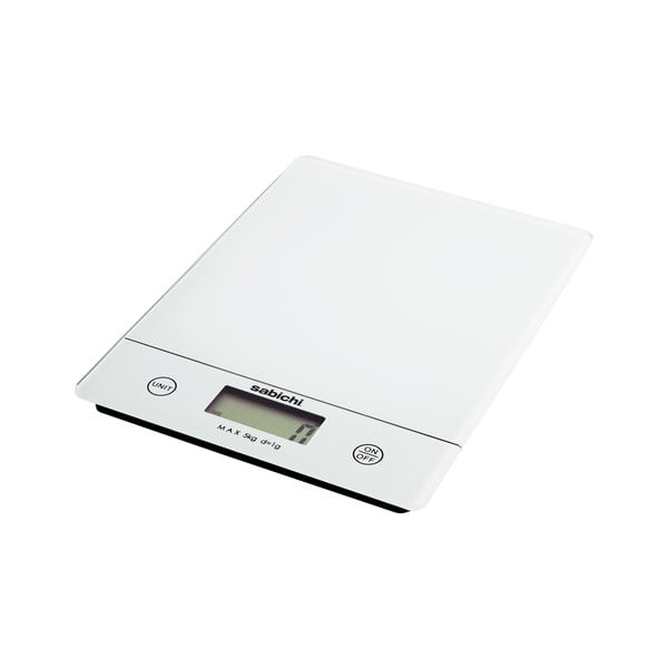 Bílá digitální kuchyňská váha Sabichi