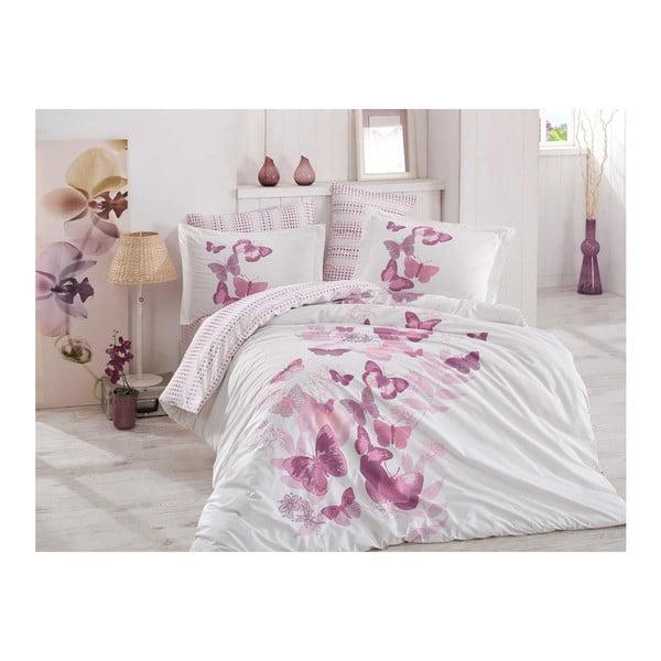 Lenjerie de pat și cearșaf din bumbac poplin Sueno Lilac, 200 x 220 cm