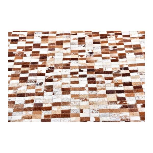 Hnědý mozaikový koberec z hovězí kůže, 200x150 cm