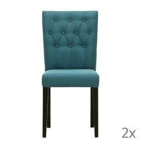 Set 2 scaune Monako Etna Blue, picioare negre