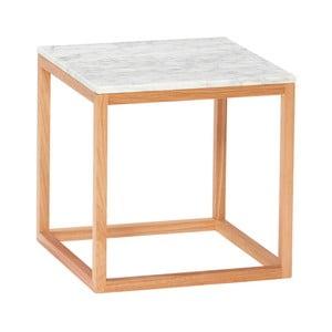 Dubový odkládací stolek s bílou mramorovou deskou Hübsch Gedda