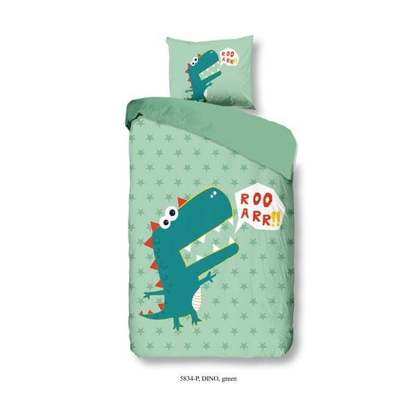 Lenjerie de pat din bumbac pentru copii Good Morning Green Dino, 140 x 200 cm