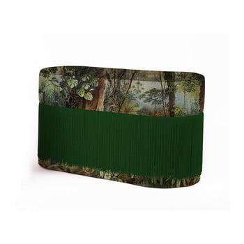 Puf cu motive tropice și husă din catifea Velvet Atelier imagine