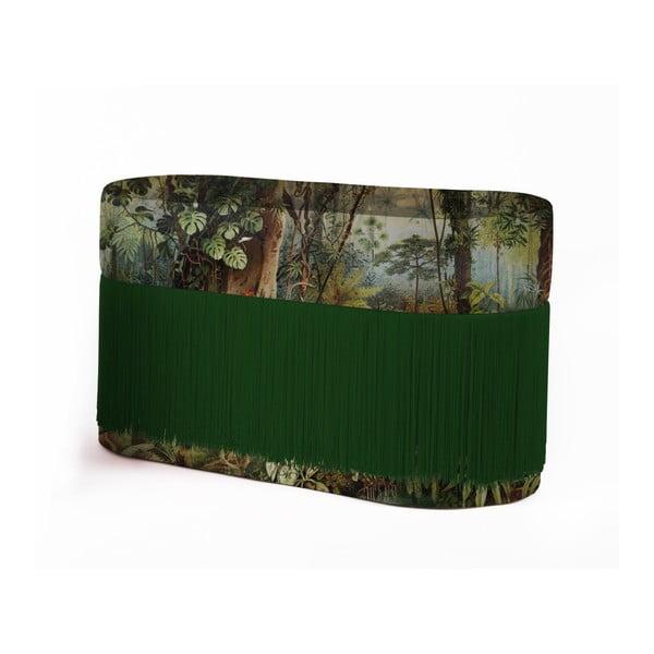 Puf cu motive tropice și husă din catifea Velvet Atelier