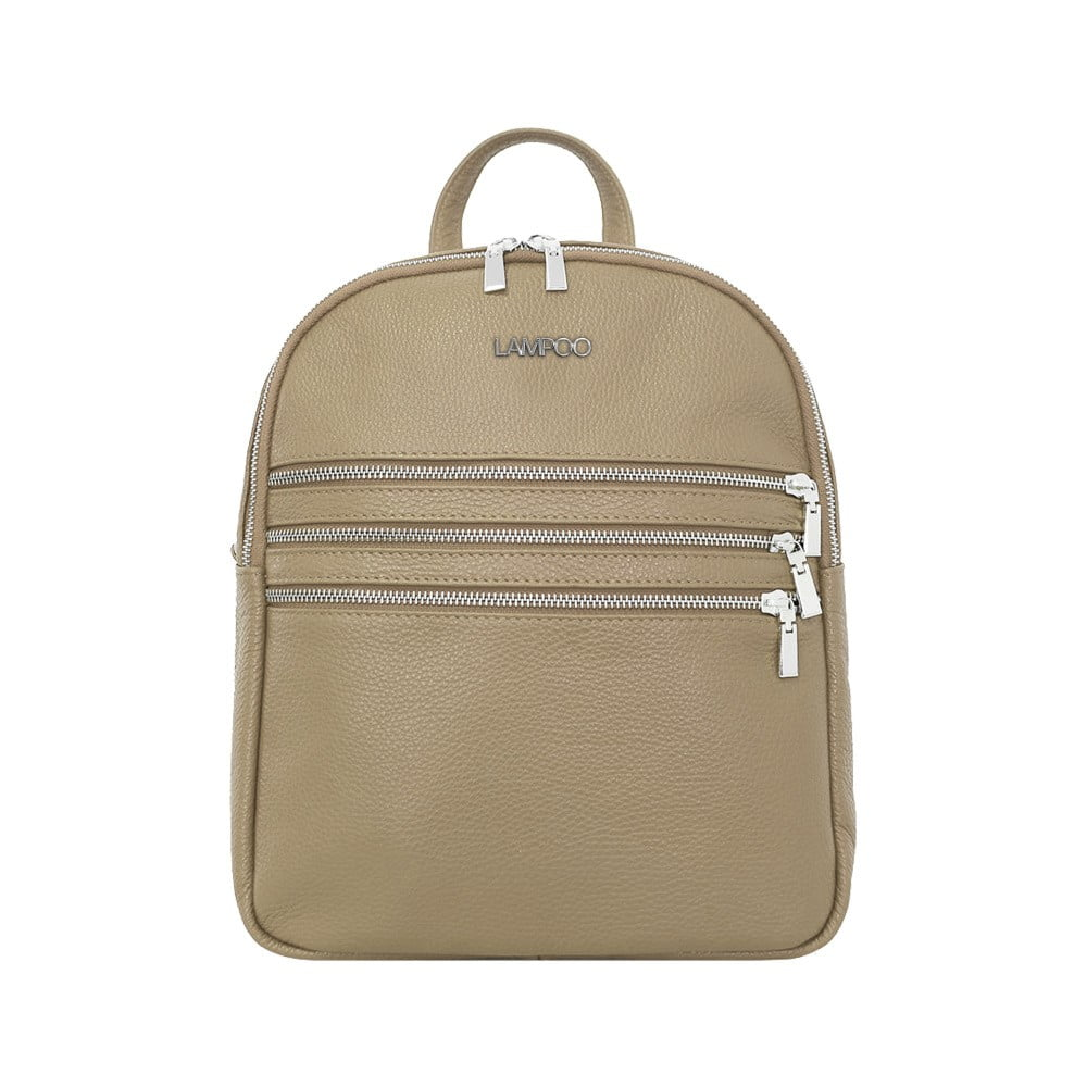 Šedobéžový kožený batoh Lampoo Kato