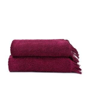 Sada 2 vínových bavlněných ručníků Casa Di Bassi Face,50 x 90cm