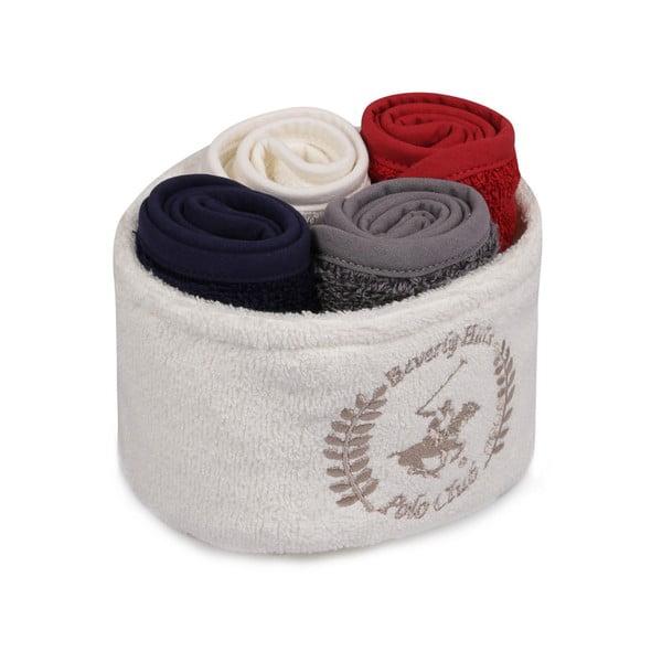Sada 4 ručníků na ruce v látkovém košíčku Polo Club Anna