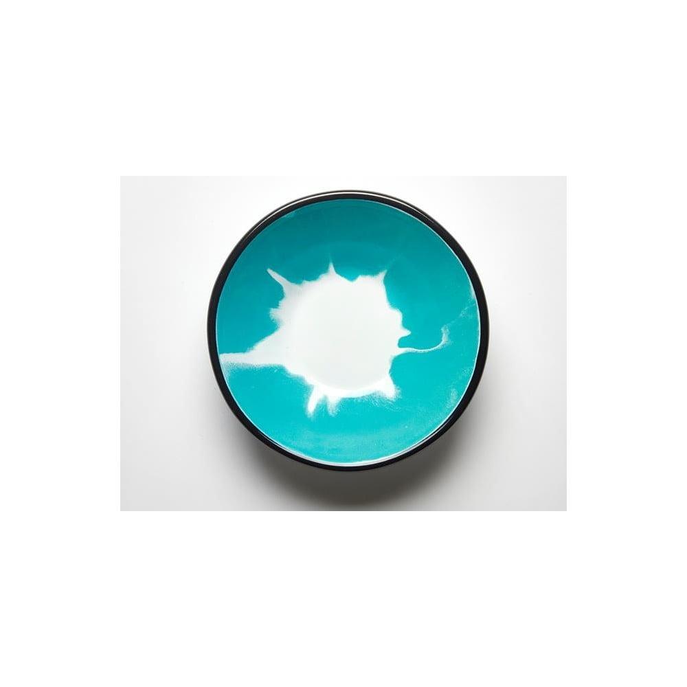 Tyrkysovobílá smaltovaná miska Kapka Little Color, Ø16,5cm