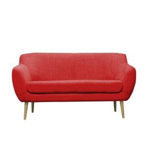 Červená trojmístná pohovka se světlými nohami Mazzini Sofas Sardaigne