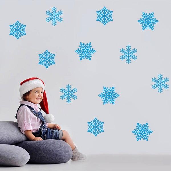 Samolepka na stěnu Modré vločky, 50x70 cm