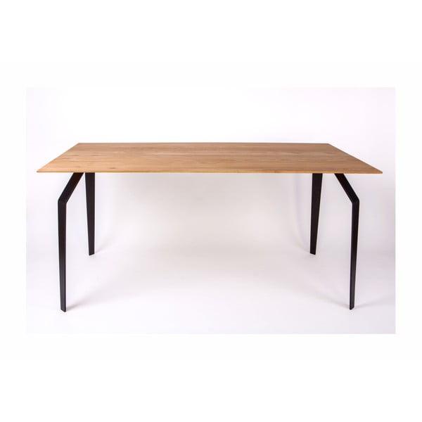 Étkezőasztal fa asztallappal és acél szerkezettel, 160 x 90 cm - Nørdifra