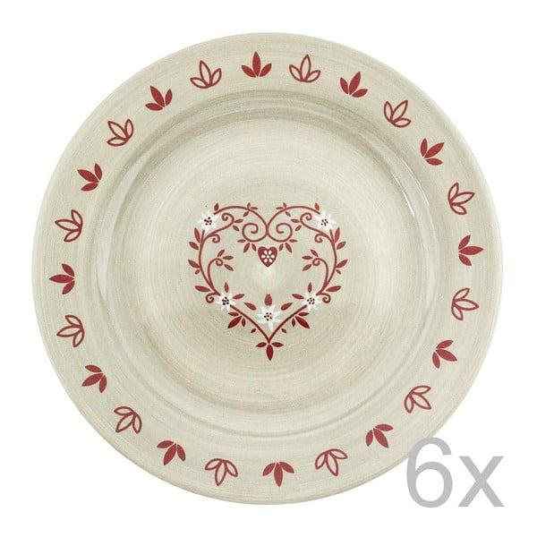Sada keramických talířů Heart 28 cm (6 ks)