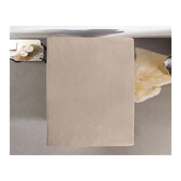 Hnědé flanelové prostěradlo Zensation, 90 x 200 cm