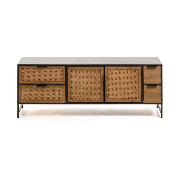 Czarno-brązowa szafka pod TV La Forma Kyoko, 150x55 cm