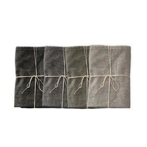 Sada 4 ks látkových ubrousků s příměsí lnu Linen Couture Cool Grey, šířka 40 cm