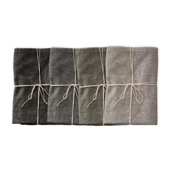 Cool Grey 4 db szövet szalvéta lenkeverékkel, 43 x 43 cm - Linen Couture