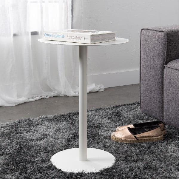 Bílý odkládací stolek Elvi