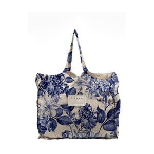 Geantă textilă Linen Blue Flowers, lățime 50 cm