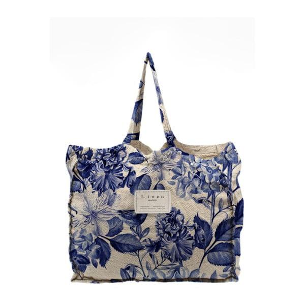 Látková taška Linen Couture Blue Flowers, šírka50cm