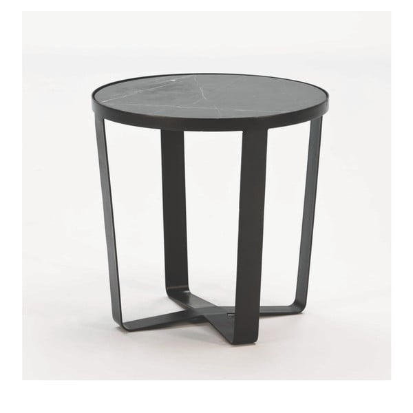 Černý odkládací stolek s mramorovou deskou Thai Natura, ⌀55cm