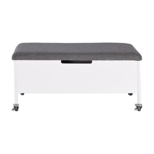 Bílá úložná lavice na kolečkách RGE Sture, 90x40cm