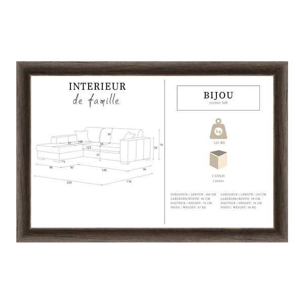 Světle šedá sedačka Interieur De Famille Paris Bijou, pravý roh