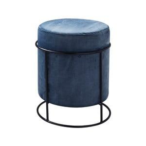 Modrý čalouněný puf Native Stack, ⌀37 cm
