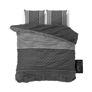 Antracitové povlečení z mikroperkálu Sleeptime Luxury Barock, 200 x 220 cm