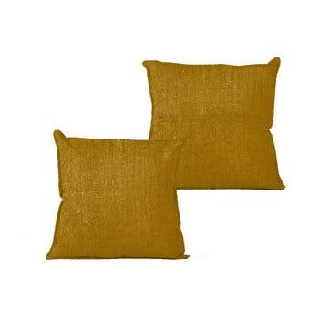 Față de pernă Linen Mustard, 45 x 45 cm poza