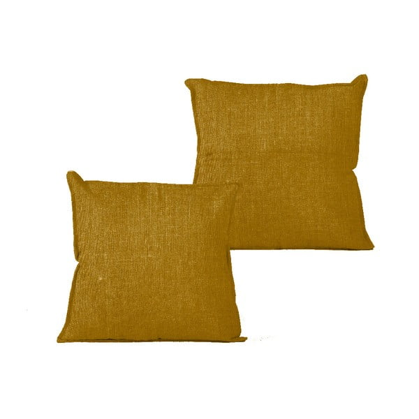 Vankúš Linen Mustard, 45×45 cm