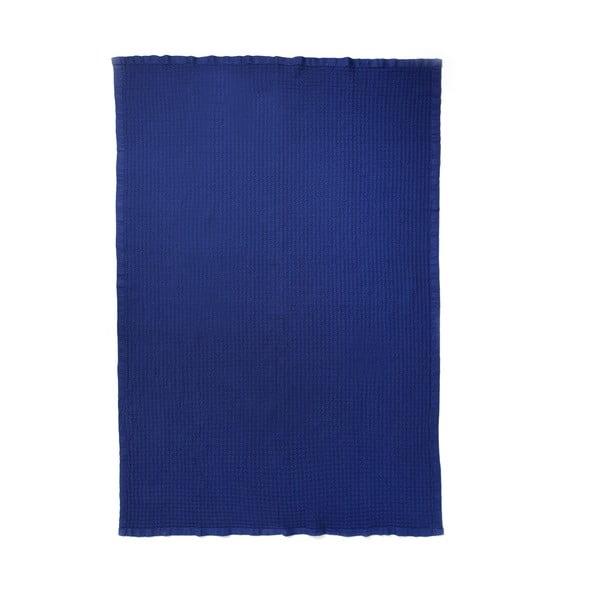 Modrý bavlněný přehoz Casa Di Bassi, 150x200cm