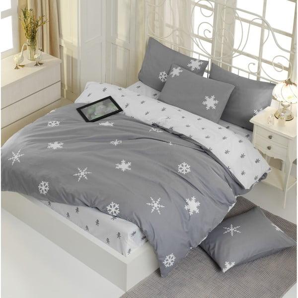 Lenjerie de pat cu cearșaf din bumbac ranforce, pentru pat dublu Mijolnir Janes Grey, 200 x 220 cm