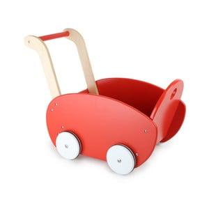 Červený dřevěný kočárek pro panenky Legler Doll's