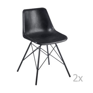 Sada 2 černých kožených židlí J-Line Cross