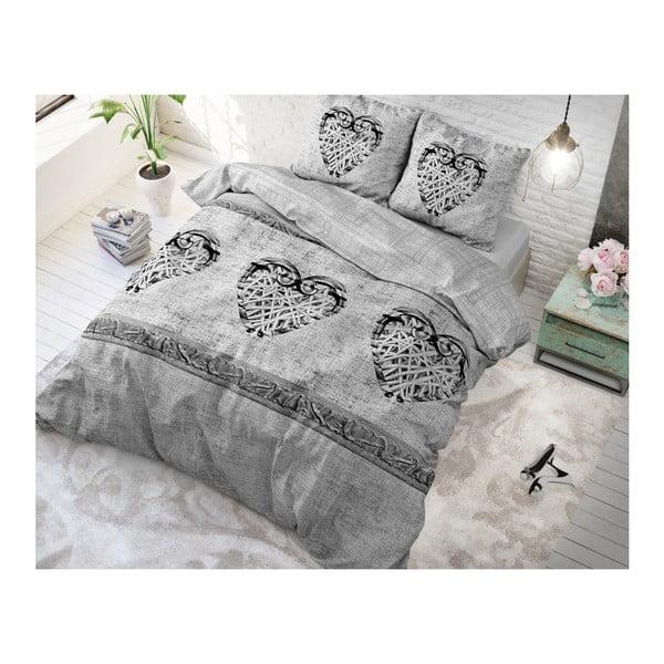 Bavlněné povlečení na dvoulůžko Sleeptime Hearts Vintage, 200 x 220 cm
