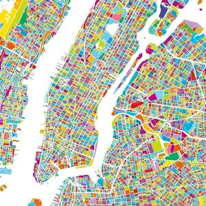 Tablou Homemania Maps Manhattan, 60 x 60 cm