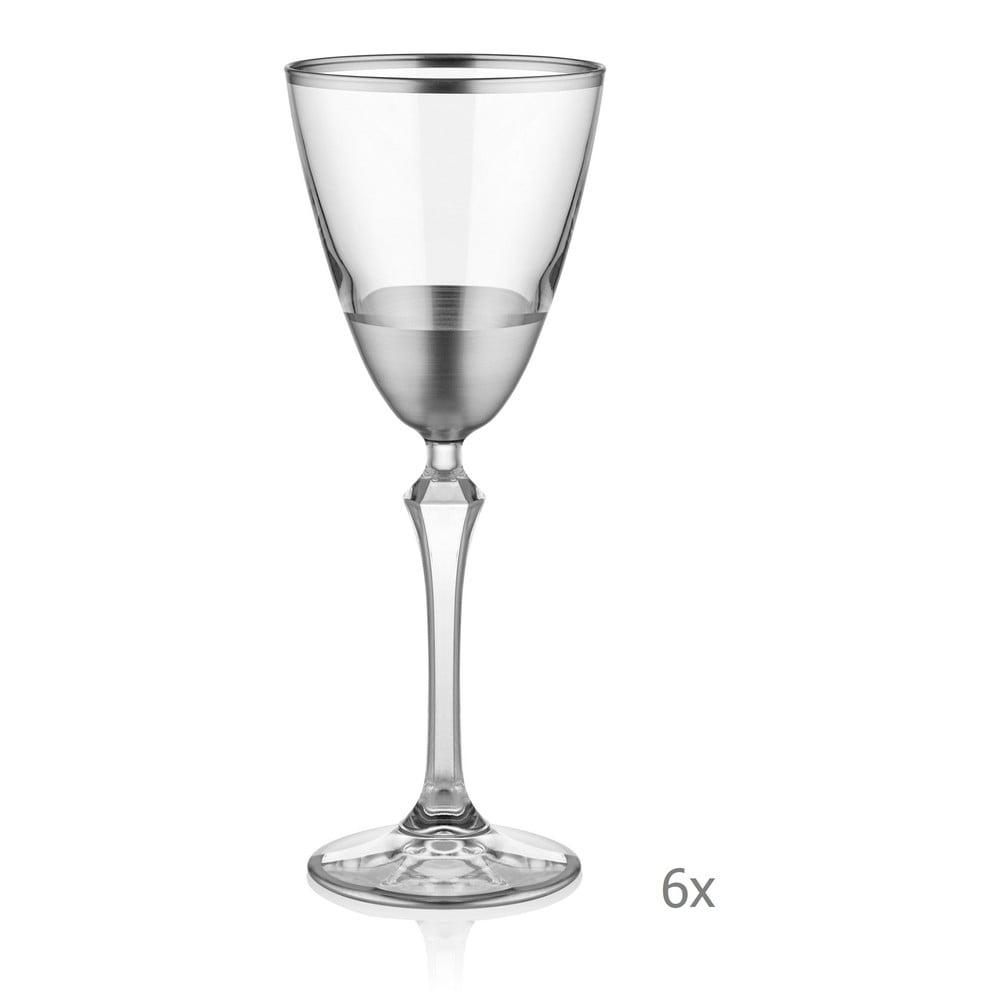 Sada 6 skleniček na sekt Mia Glam Silver, 200 ml