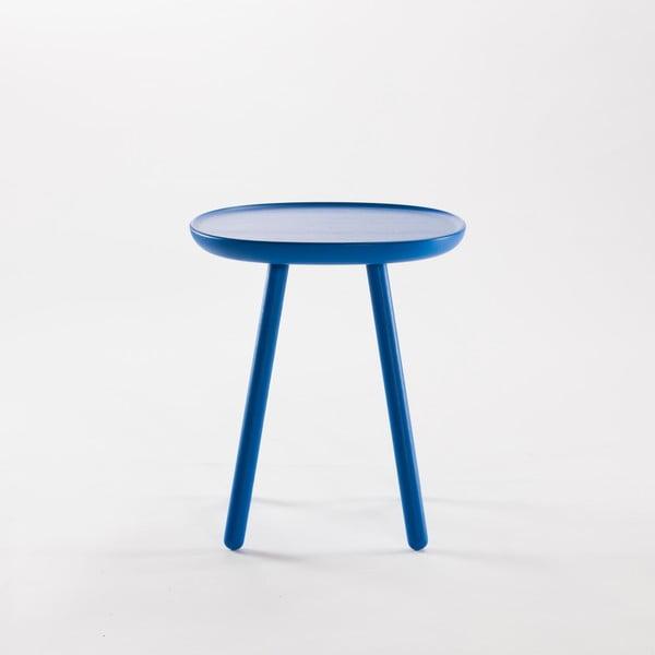 Modrý odkládací stolek z masivu EMKO Naïve Small, ø45cm