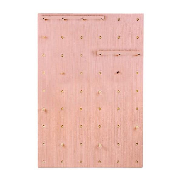 Nástěnka s poličkami z borovicového dřeva Surdic Pegboard Rose Quarz