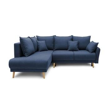 Colțar extensibil cu șezlong pe partea stângă Bobochic Paris Mia L, albastru închis imagine