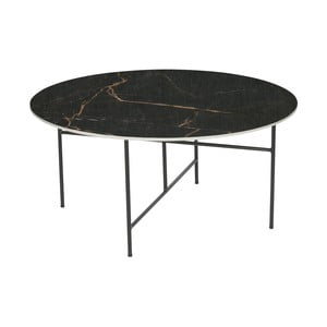 Černý konferenční stůl s porcelánovou deskou WOOOD Vida, ⌀ 80 cm