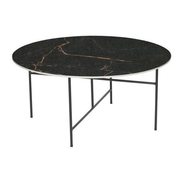Vida fekete dohányzóasztal porcelán asztallappal, ⌀ 80 cm - WOOOD