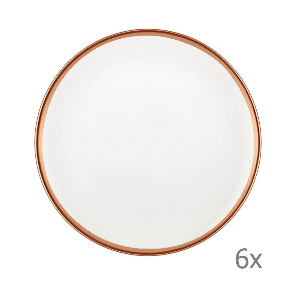 Sada 6 bílých porcelánových dezertních talířů Mia Halos Bronze, ⌀ 19 cm