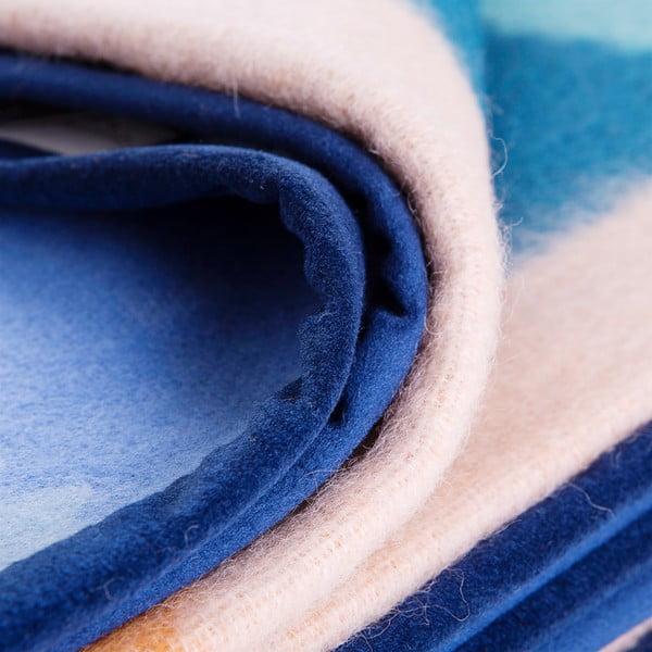 Vlněný pléd Emilia 210x260 cm, modrý