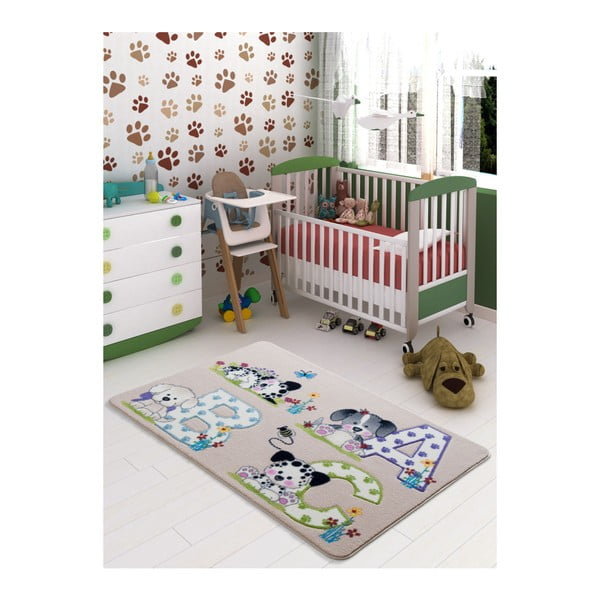Dětský béžový koberec Confetti Abc,133x190cm