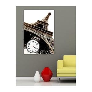 Obraz s hodinami Eiffelova věž, 60x40 cm