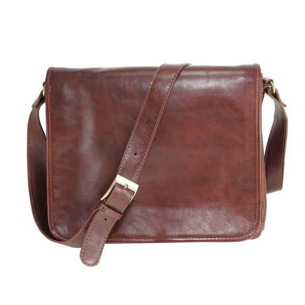 Hnedá kožená kabelka Chicca Borse Norma