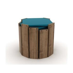 Sada 3 přírodních stohovatelných odkládacích stolků s modrým detailem Rafevi Hansel
